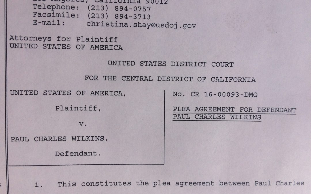 Paul Wilkins U.S. District Court Plea Agreement | Transportation of Gay Child Pornography
