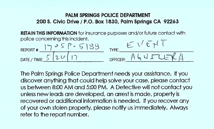 palm springs police department report