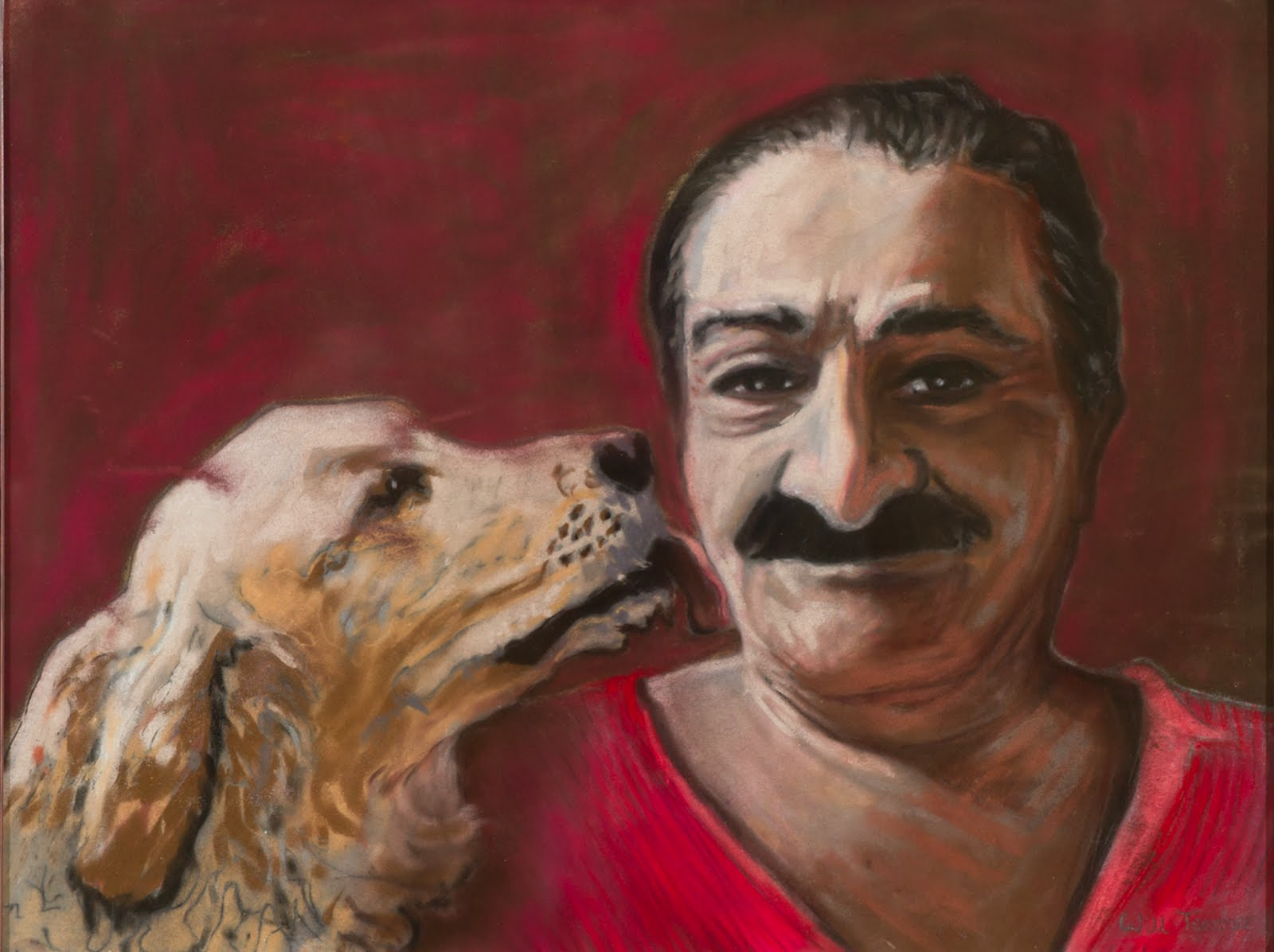 guru meher with dog licking face
