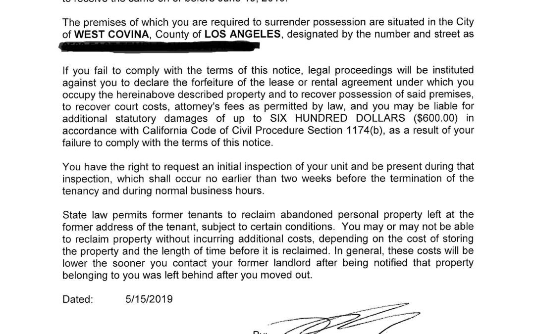Illegal Eviction Letter