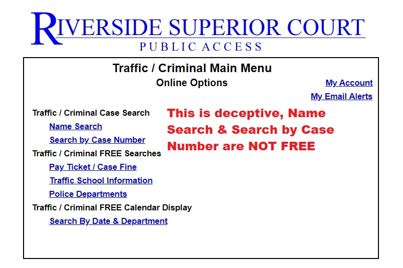 you will not find free criminal information on the public access site